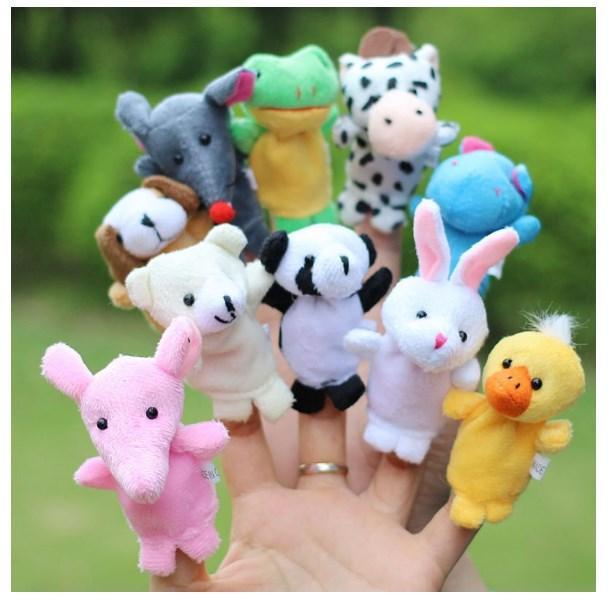 10pcs/set Cartoon Animal Finger Puppet Plush Toys for Children
