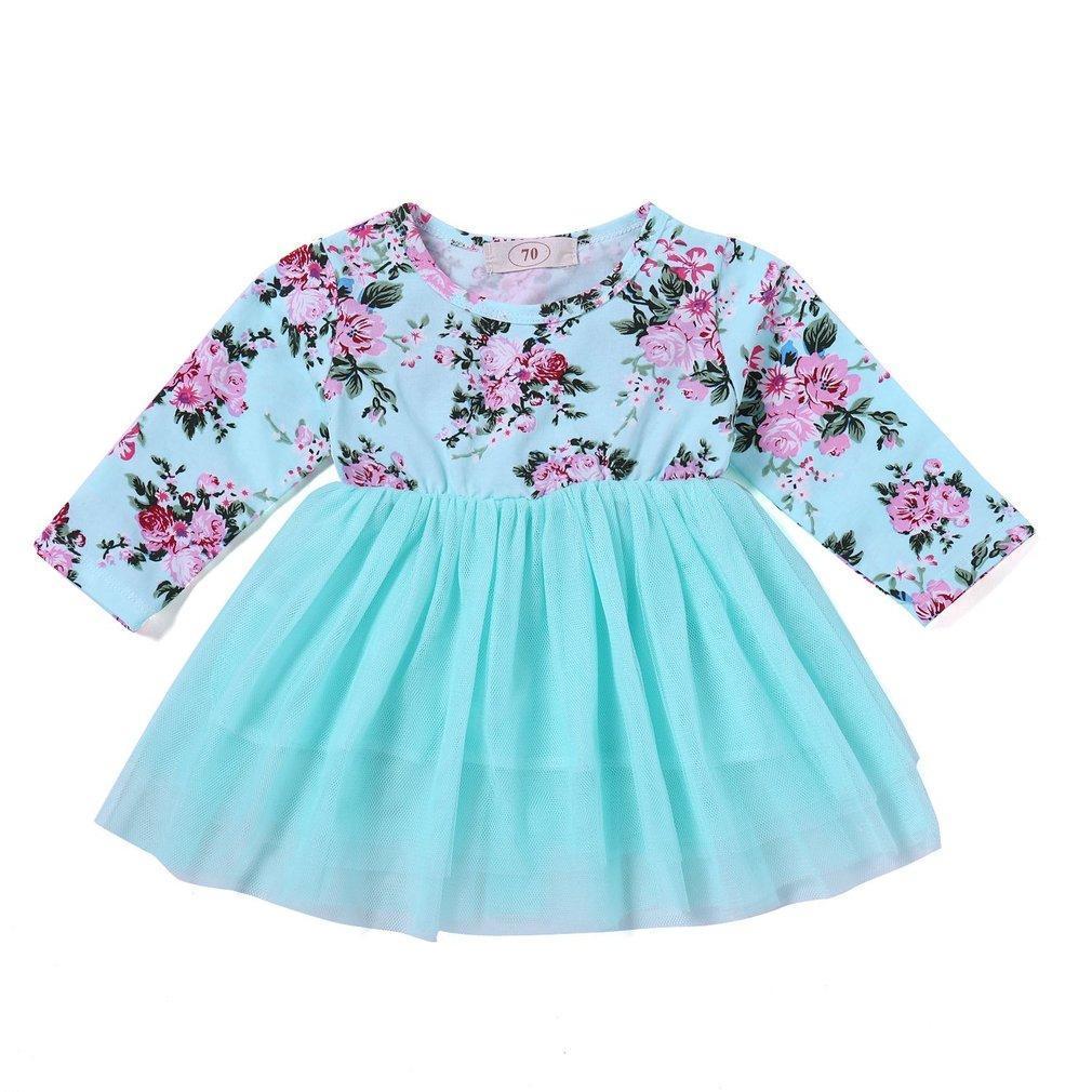 bb36930c91cae UR Fashionable Floral Printed Design Dress Baby Girls' Princess Dress Blue