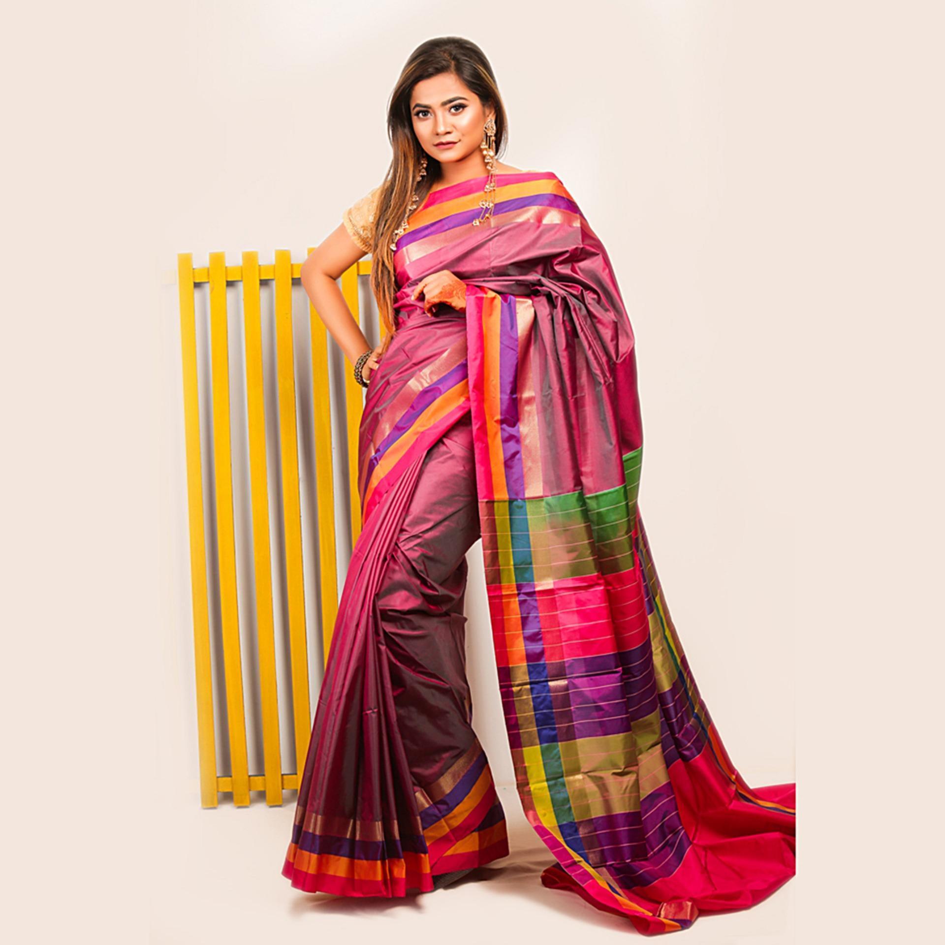 00b46cf62cbe63 Women's Silk Katan Saree With Unstitched Matching Blouse Piece- Multicolor