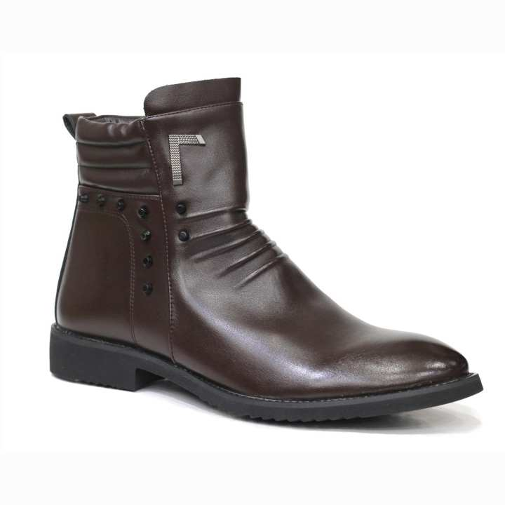 Coffee Mixed Leather Chain Boot for Men