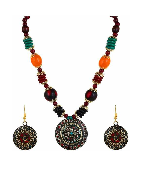 Stylish Afghani Tribal Jewelry Set for Women (Multicolored)