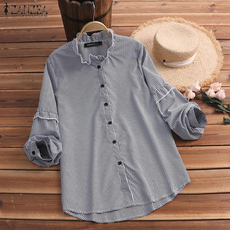 a3c132d1cca74 ZANZEA Womens Striped Long Sleeve Baggy Blouse Ladies Casual Tops T-Shirts