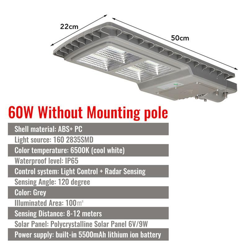 60W LED 3 In 1 Solar Activated Street Light PIR Motion Sensor Outdoor IP65  2835SMD 100㎡ Lighting Range Light Control + Radar Sensor Solar Street Wall