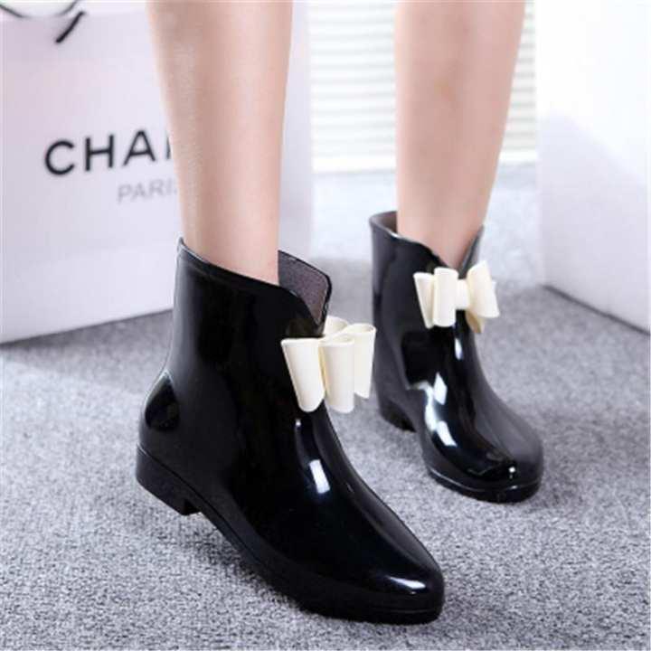 Women Heel Rubber Rain Shoes Ankle Boots Waterproof Wellies Wellington Boots BLACK
