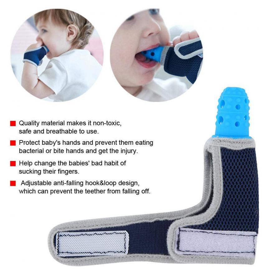 Kid Infant Safety Teether Soft Gel Baby Teething Mitten Molar Gloves Eat Fingers