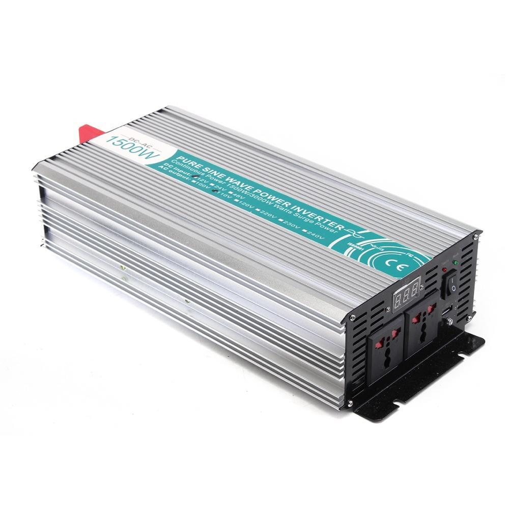 Peak Power: 2500W(1s) USB Output: 5V 500mA. Output Waveform: Pure Sine Wave Waveform Distortion: <3%(Linear Load) Cooling: Fan Type: Off grid