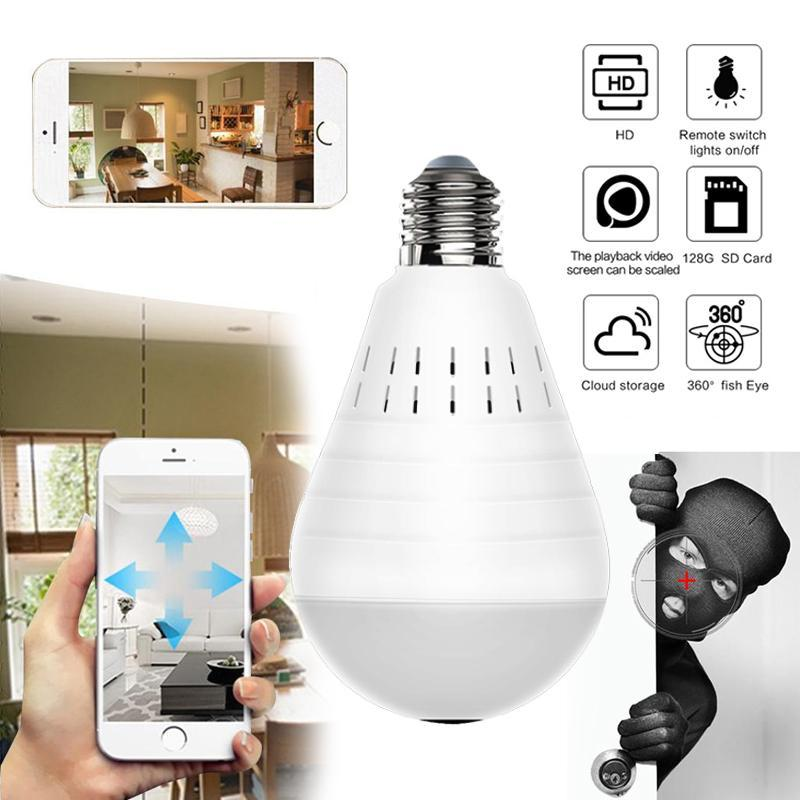 960P security ip camera wifi wireless bulb lamp smart ip webcam 360 degree  FishEye 3D VR home surveillance panoramic camera