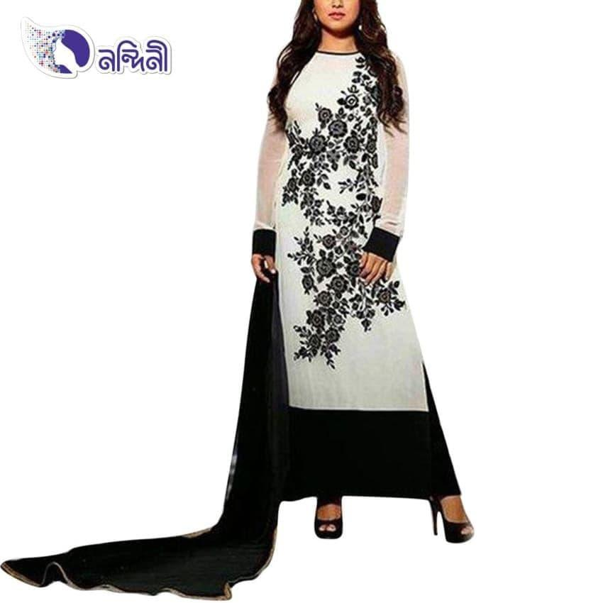 Unstitched White Cotton Salwar kameez