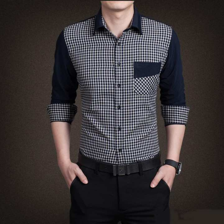 Black and White Cotton Shirt For Men