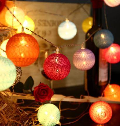 20 LED Cotton Ball String Lights LED Fairy Lights