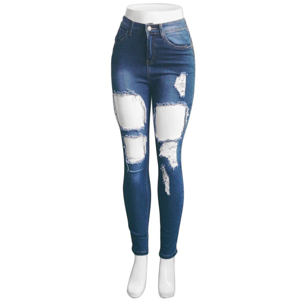 69a68958f Women s Long Jeans High Waist Skinny Pencil Blue Destroyed Ripped  Distressed Slim Denim Pants
