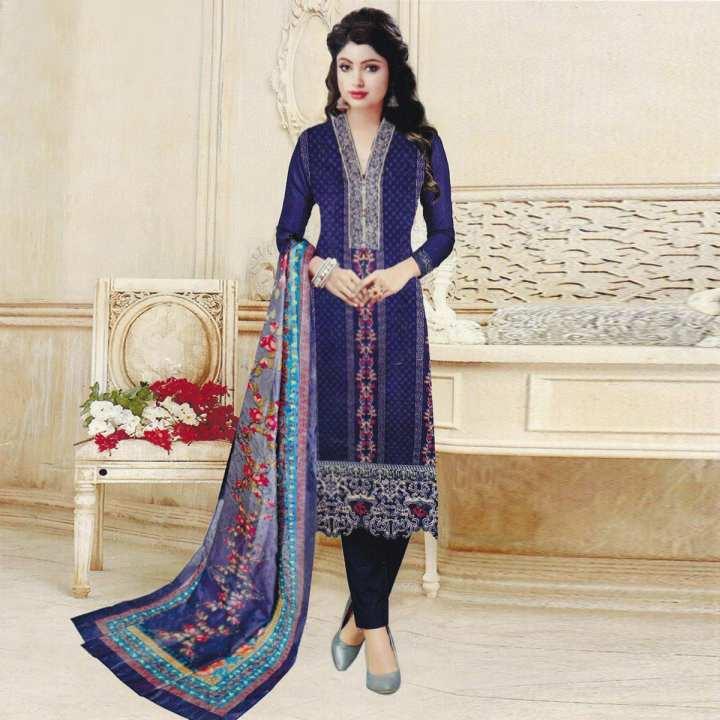 Unstitched Multicolor Cotton Shalwar Kameez