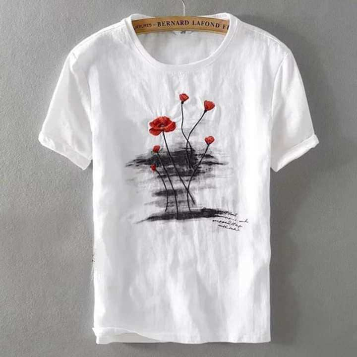 Off White Rose Style T-shirt For Man