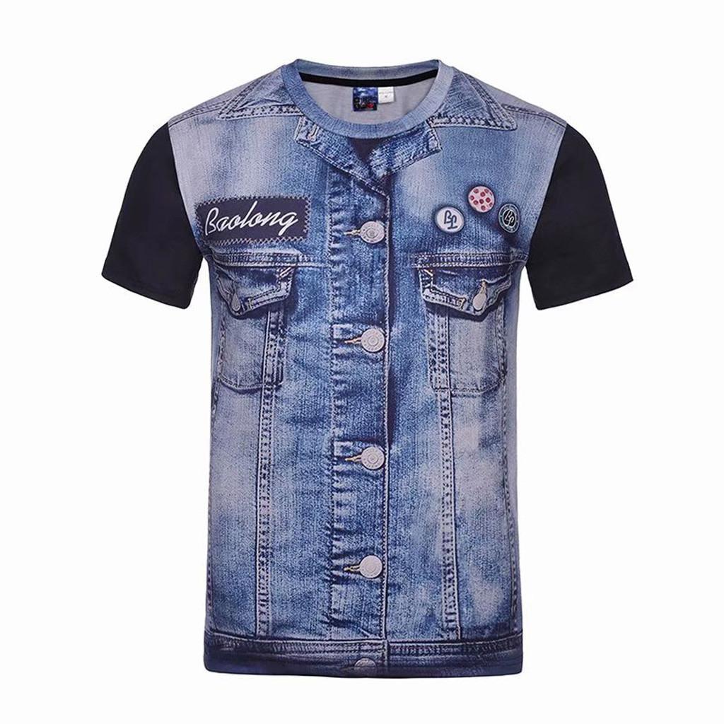 MoonSister Fashion Men s Casual denim Short Sleeve T-shirt Top Blouse 7e225cd22d8a