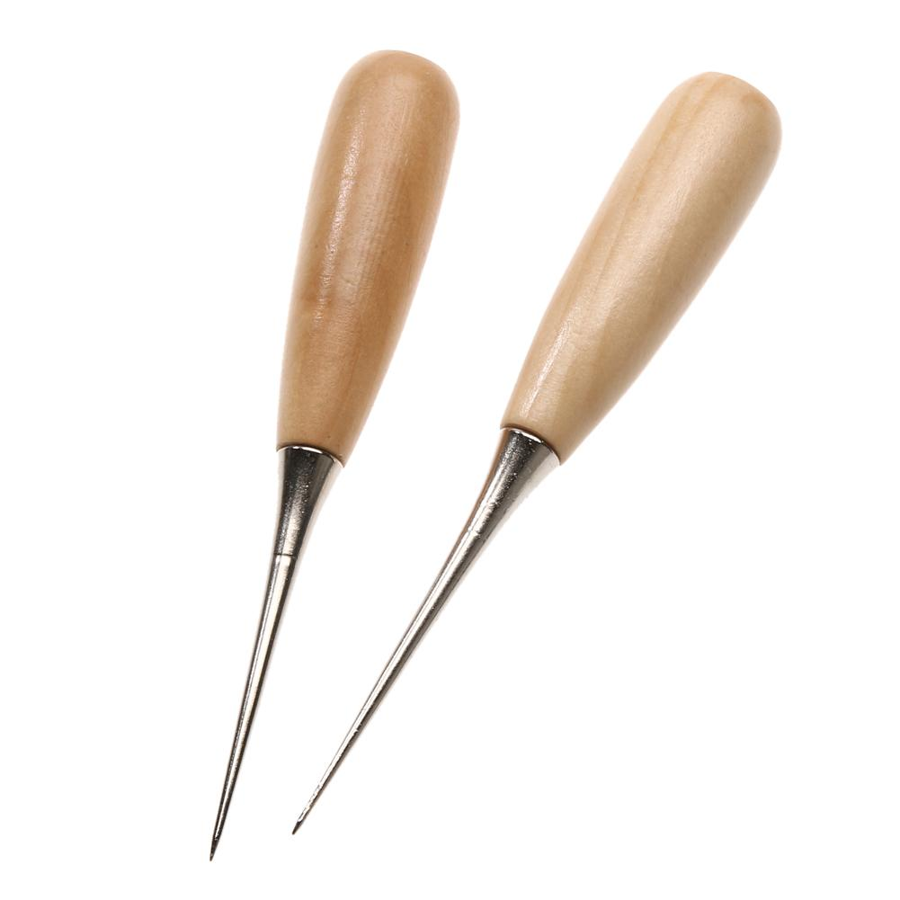 2pcs Professional Leather Wood Handle Awl Stitching Awl Sewing Leather Tool