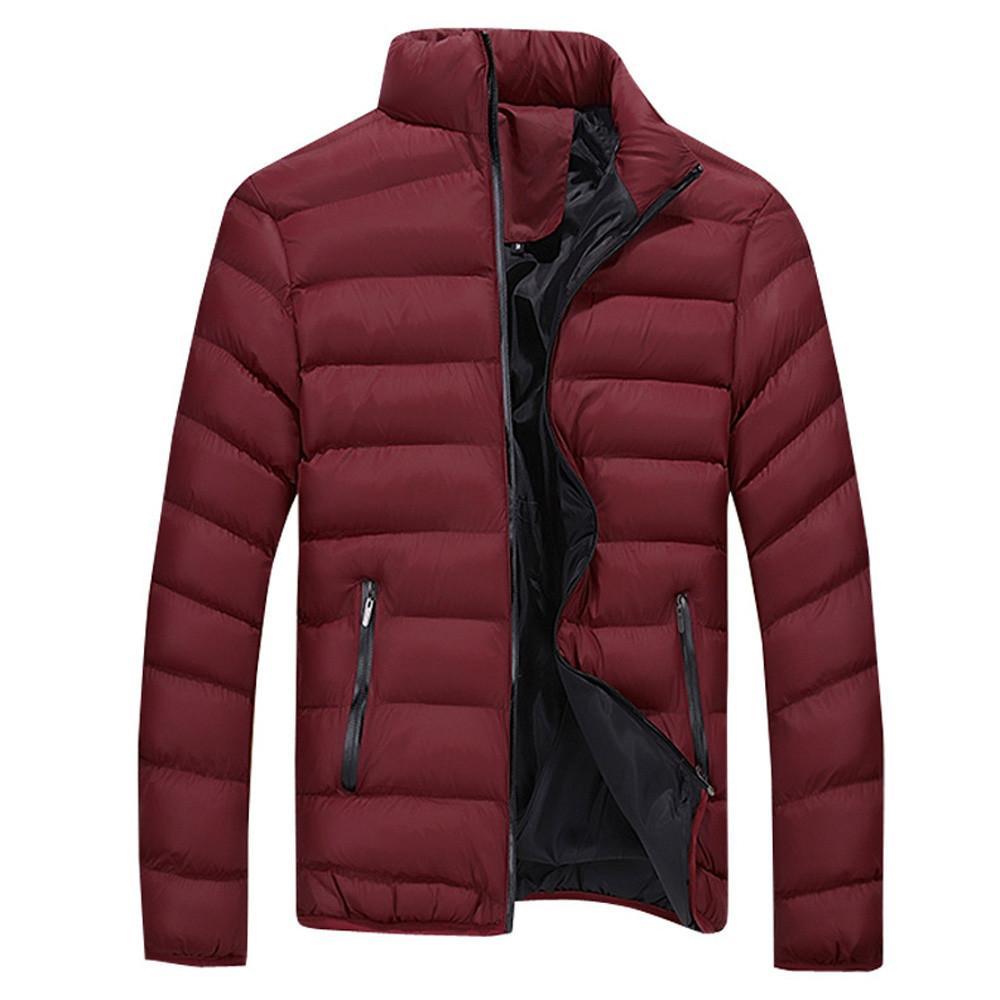 43321656035f Rainbowroom 2019 Men s Winter Leisure Zipper Pocket Down Jackets Stand  Collar Coat Outwear Tops