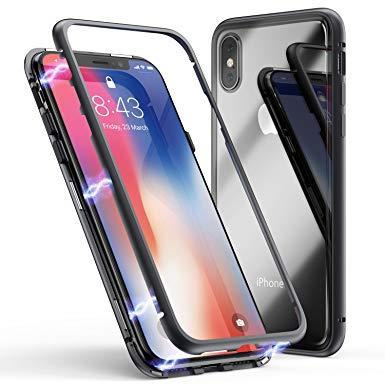 360 Degree Magnetic Metal Tempered Glass Back Cover for iPhone 8 Plus
