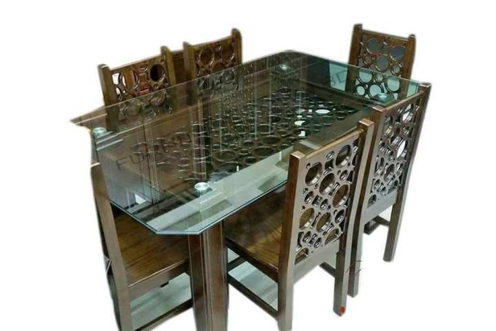 Meheguni wood>Malaysian MDF>10mm glass>6 Chair>Dinning set