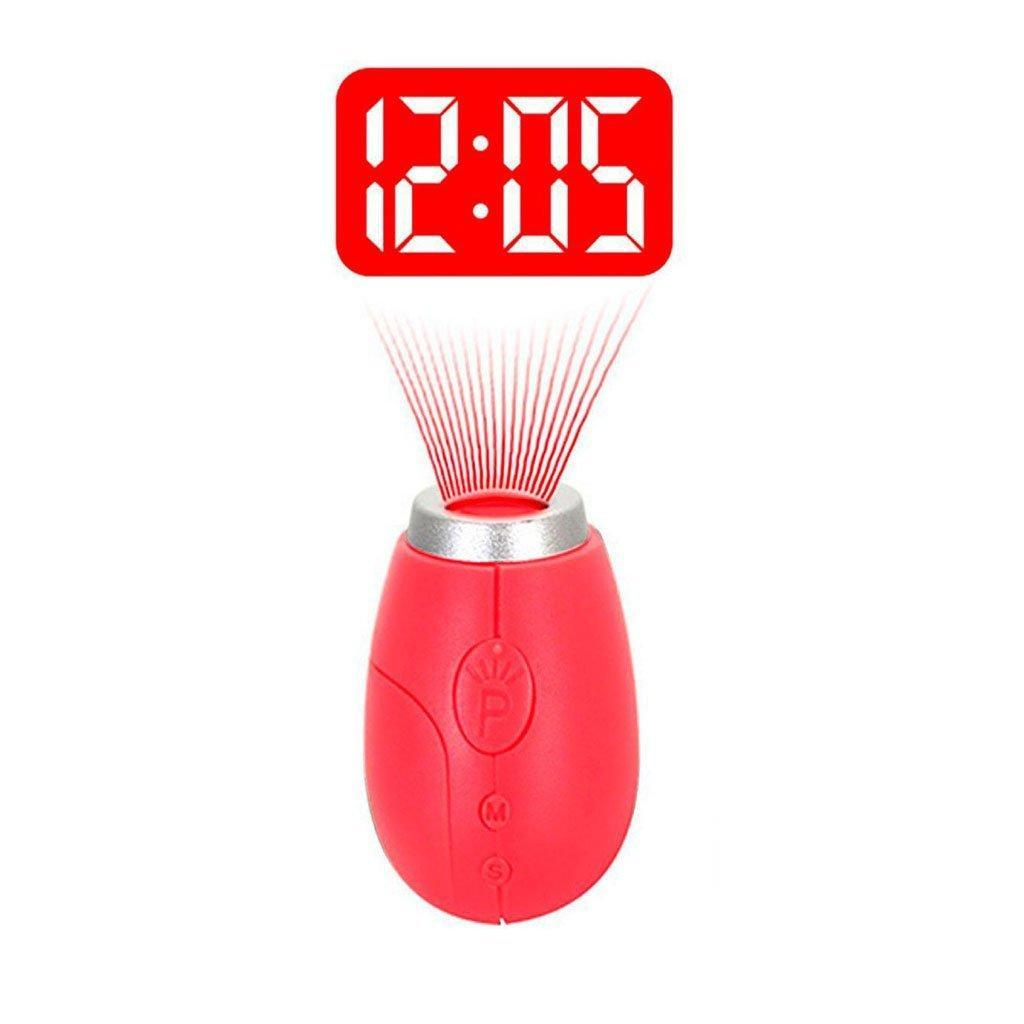 VST CL-001 Electronic Mini Portable Digital LED Projection Time Clock with Keyring for Kid's Birthday Gifts Pocket Digital Clock Red Light Wall Ceiling Projection Indoor Outdoor Nightlight
