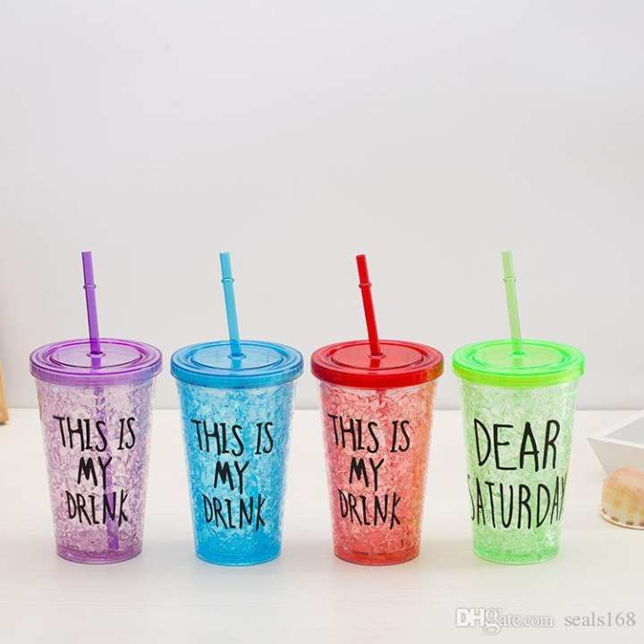 450ML Emoji Letter Tumblers Plastic Milk Plastic Drinking Coffee Tea Cups With Lids And Straws Gifts HH7-226