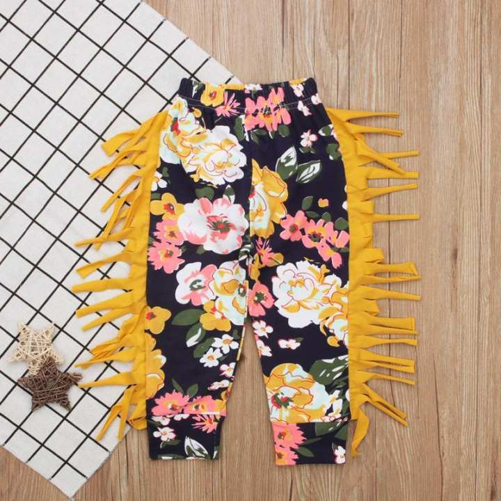 Children'S Spring Fall Girl Yellow Fringed Flowers Casual Pants Children'S Clothing Instagram Baby Girl Clothes Kids Fortnite Toddler Skirt Shorts Panties Dress Unicorn Mickey Minnie Kid Dresses Princess Robe Infantis Panda Spiderman