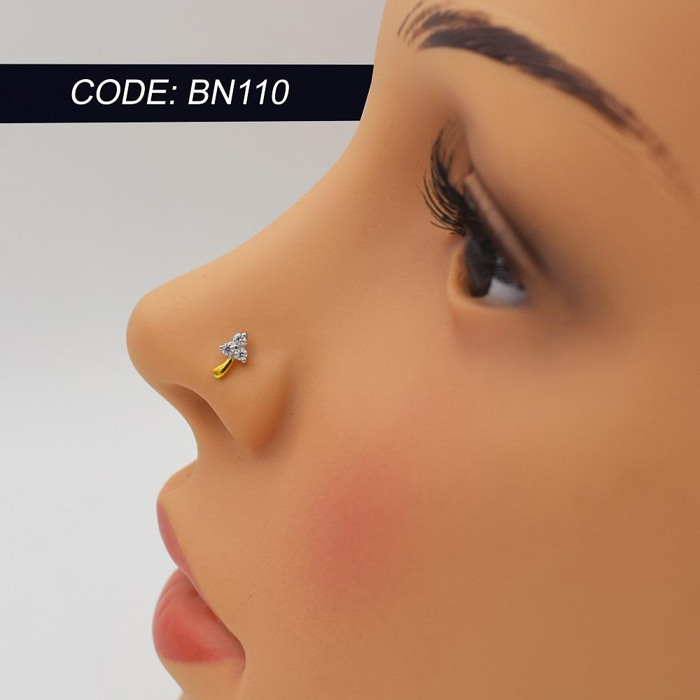 Century Leaf Zirconia Gold Nose Pin Buy Online At Best Prices In