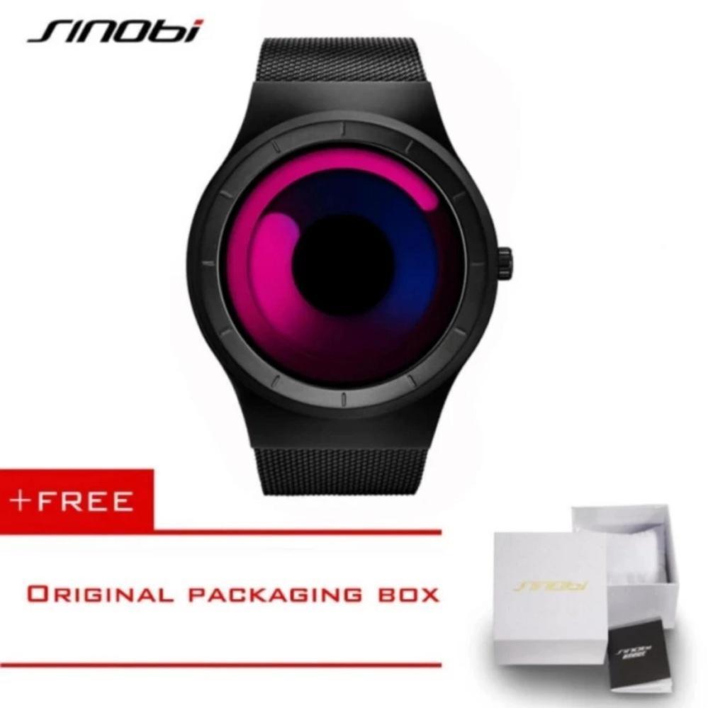 2f4d07e0d SINOBI Sports Watches for Men Stainless Steel Mesh Strap Creative No  Seconds Design Geneva Quartz Clock