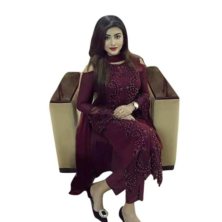 Maroon Georgette Unstitched Salwar Kameez for Women