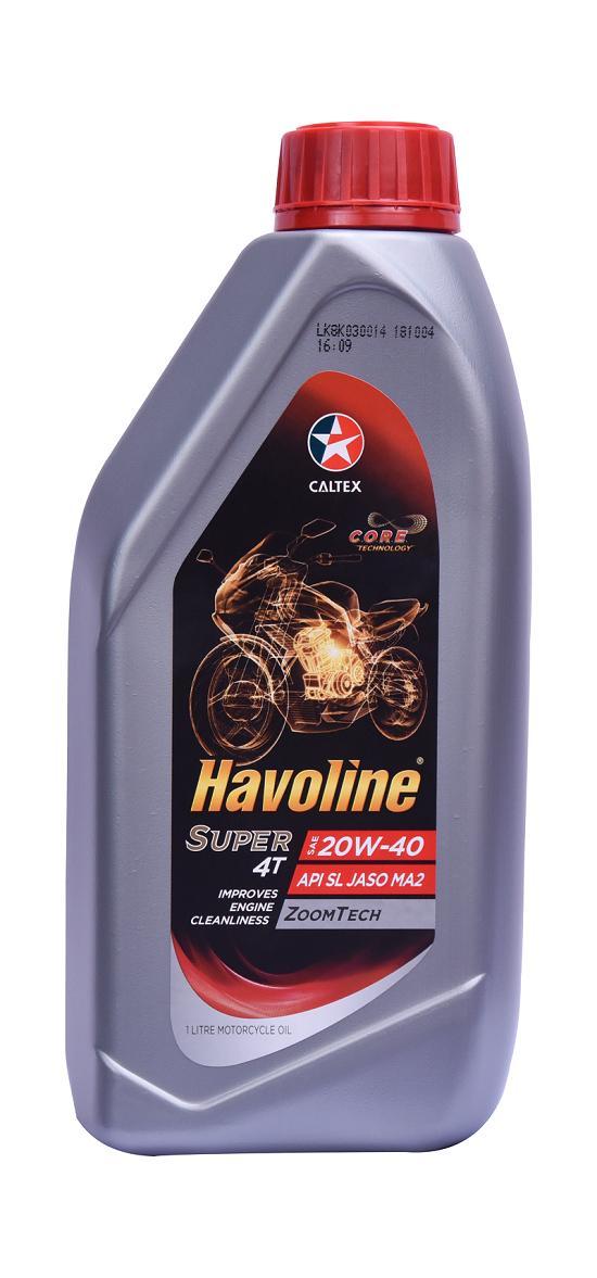 Havoline Super 4T SAE 20W 40 (API SL JASO MA2) - Motorcycle Engine Oil- 1L