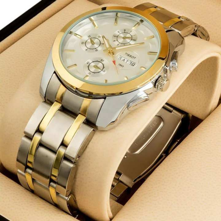 Stainless Steel Chronograph Watch for Men-Silver and Golden