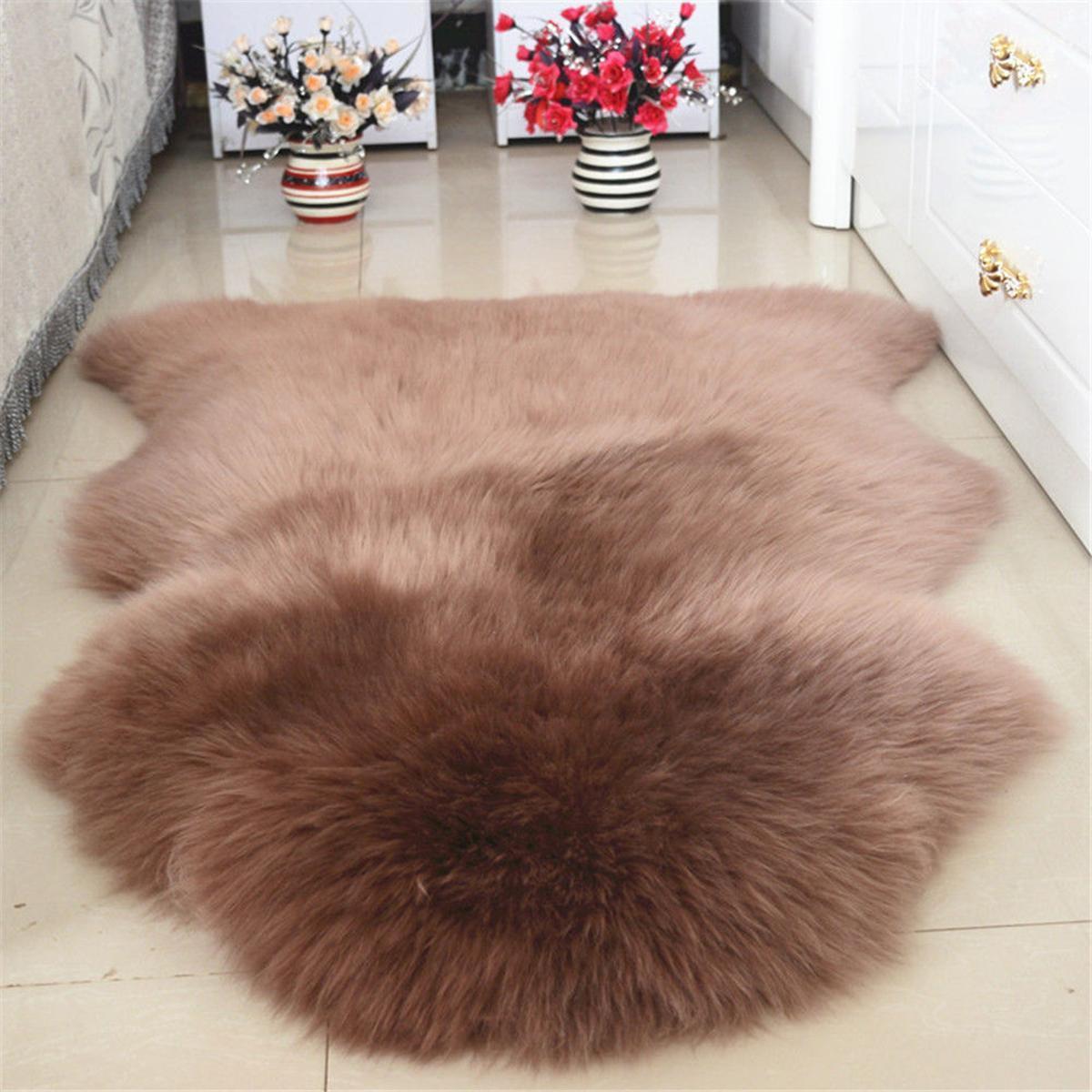 Fluffy Faux Fur Skin Rug Soft Fake Mats Bedroom Rugs Carpet Brown Shaggy