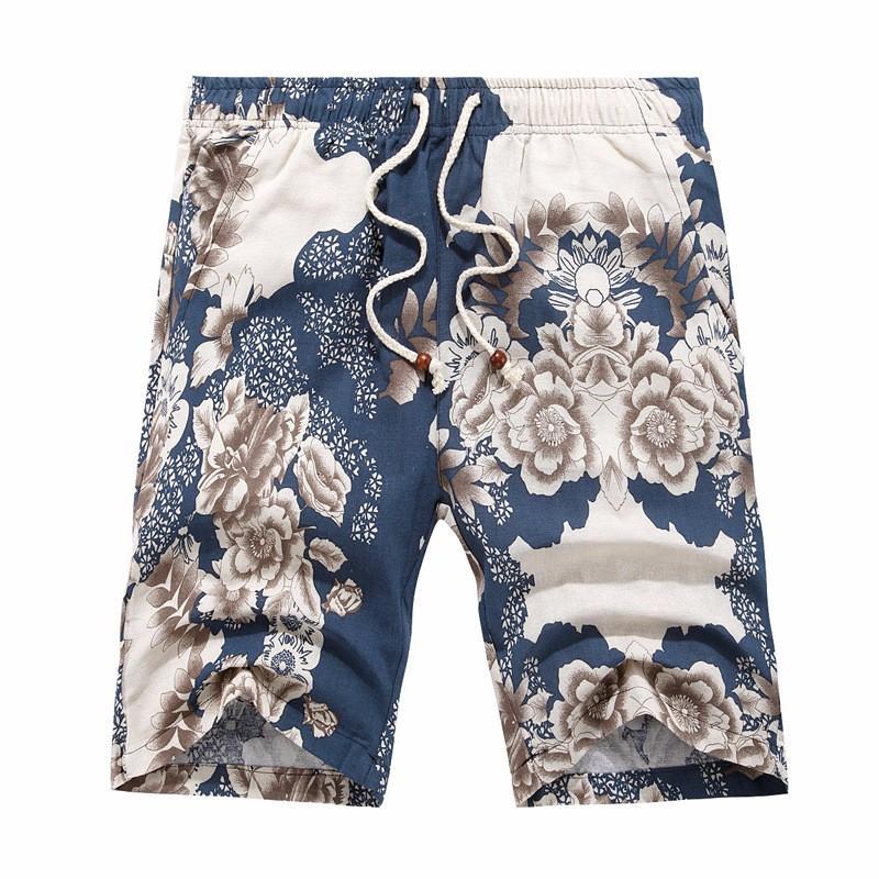 2125a27a73 Union Mall Summer Style Elastic Waist Shorts Men Loose Casual Cotton Mens  Shorts Flax Shorts Male Knee Length Beach Linen Shorts
