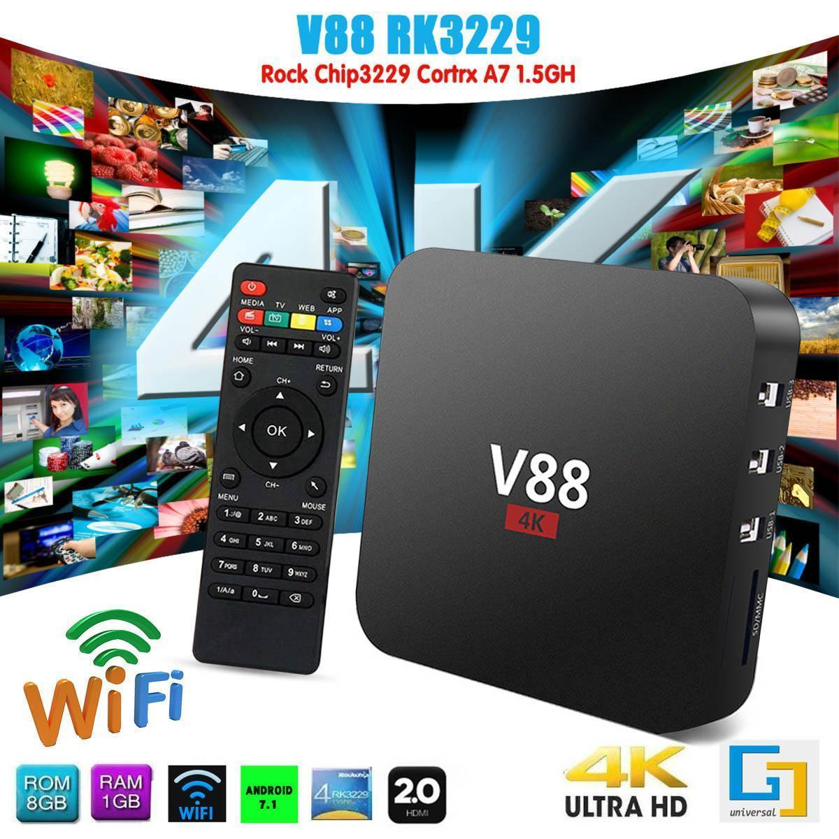 SCISHION V88 Plus Smart Android 7 1 TV Box RK3229 Quad Core 4K H 265  2GB/16GB USB WiFi HD 2 4GHz-EU Plug