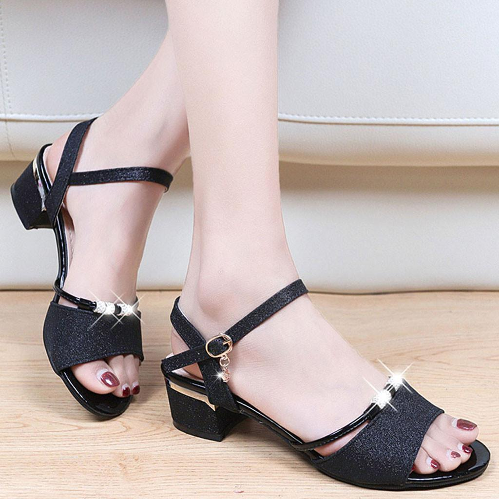 fc5d83c08a5 Women's Open-Toe Mid-Heeled Thick With Rhinestone Metal Buckle Low-Top  Sandals