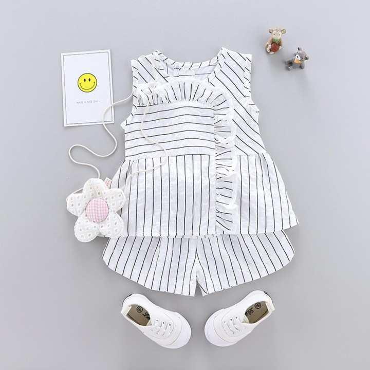 Infant Baby Girl Summer Ruffles Stroped Sleeveless Tops Shirt+Shorts Pants Sets