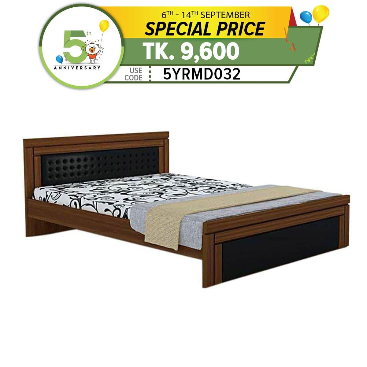 HBDH-104-4-10 Laminated Board Double Bed - Brown