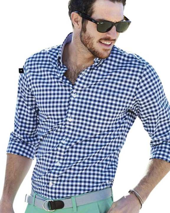 Navy Blue and White Check Cotton Shirt For Men