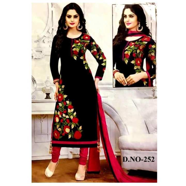 Black Cotton Unstitched Three Pic For Women