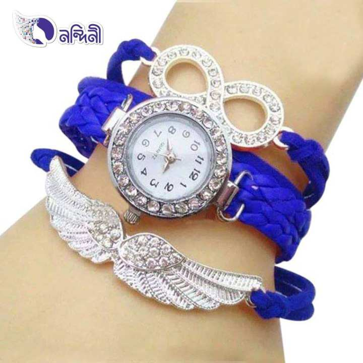 WRF39-WTV Leather Analog Watch For Women - Blue and White