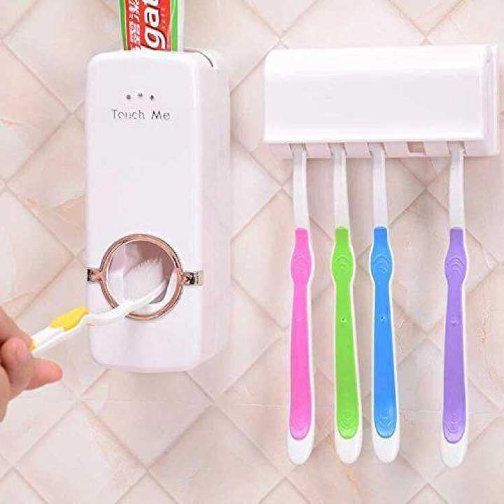Toothpaste Dispenser WIth Toothbrush Holder - Interior Design For Bathroom Toilet- Bathroom Home Decoration Accessories Architect Real Estate Modern Home Furnitures Home Decor Interior Design Bathroom Accessories Tooth paste Dispenser Tooth Brush Holder