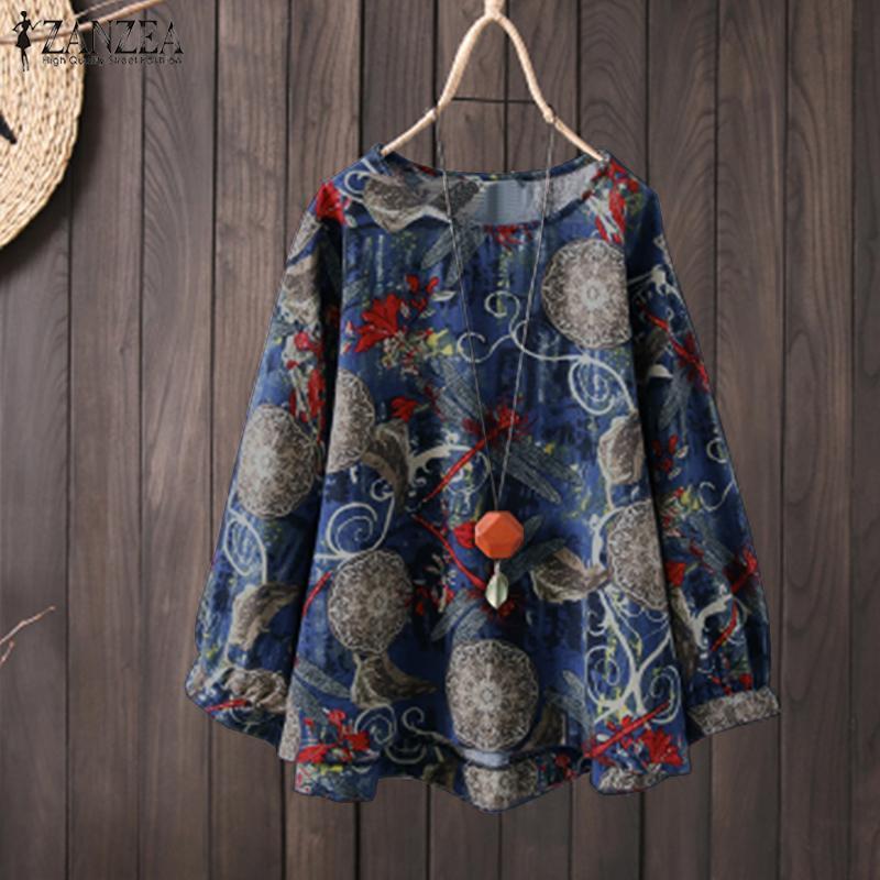 94a51659925 ZANZEA Plus Size Women Crew Neck Floral Print Long Shirt Tops Casual  Oversize Blouse