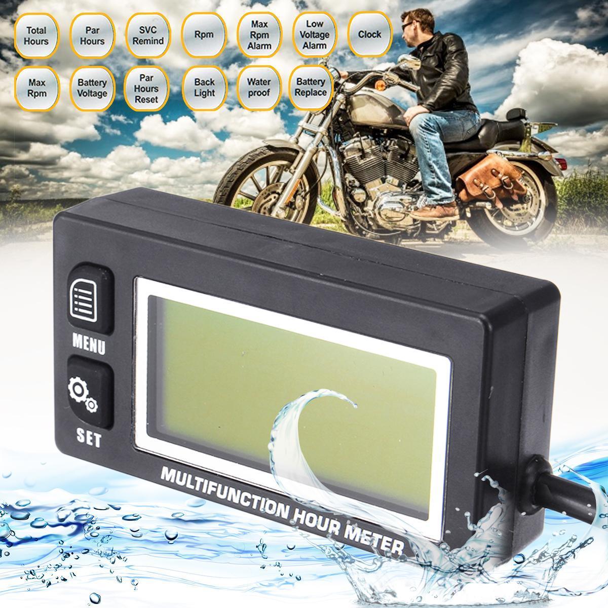 Backlit Multifunction Hour Meter Tachometer Voltmeter Clock Motorcycle  Marine