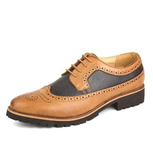 0751a20b453b Men Bullock Shoes Genuine Leather Formal Shoes Casual Brogue Shoes (Red)