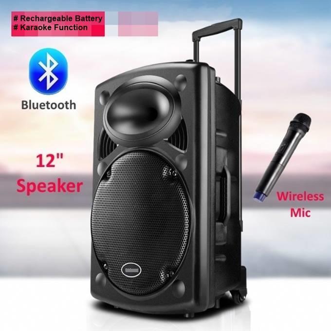 Rechargeable bluetooth karaoke trolly speaker with wireless microphone -  Black