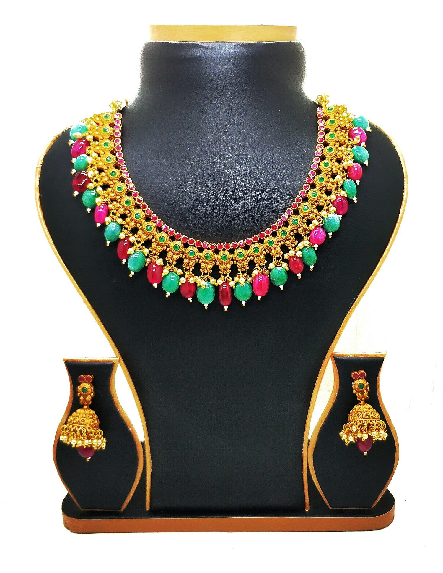 fe48d49cb Necklace Set Made of Matt Gold South Indian Jewelry set With Beautiful  Earrings