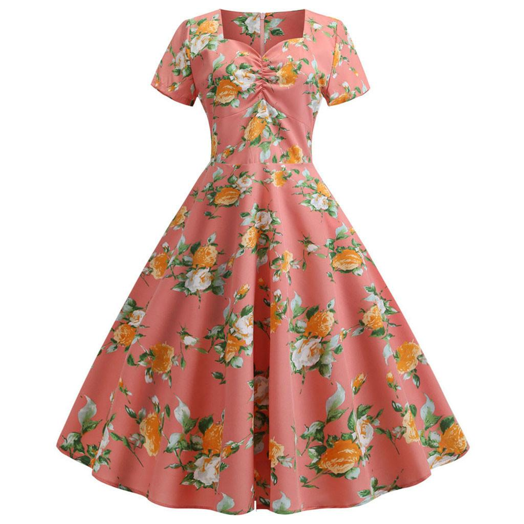 494411ad6a0 Happydeal Women s Vintage Short Sleeve Print Casual Evening Party Prom Swing  Dress