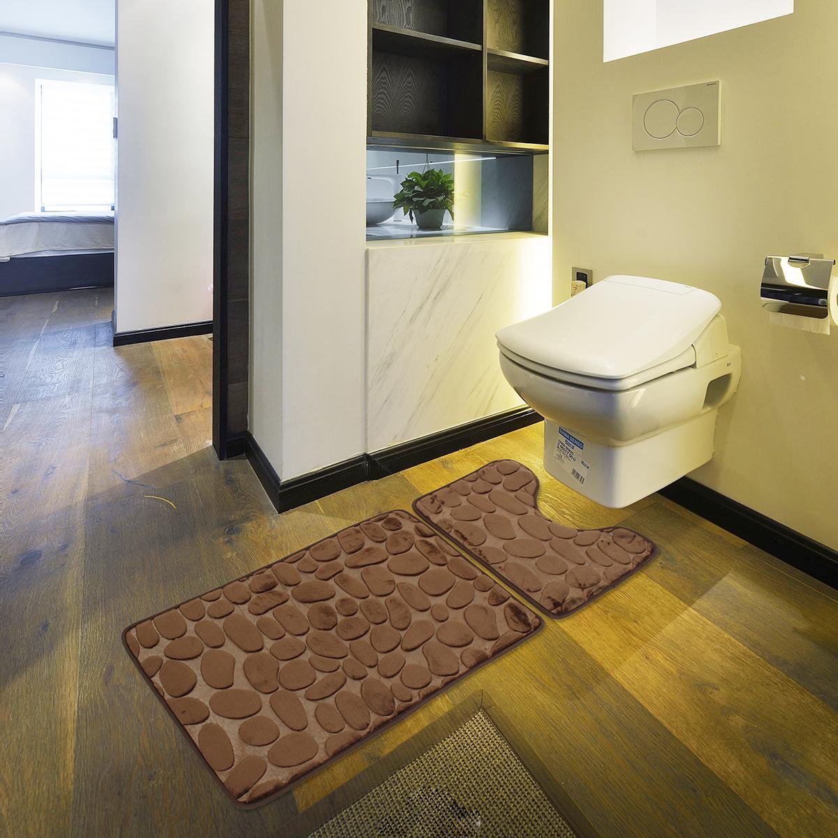 2pcs Set Bath Non Slip Mat Toilet Contour Cover Rug Bathroom Floor Stone Pattern Brown Buy Online At Best Prices In Bangladesh Daraz Com Bd