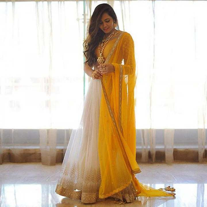 Unstitched White and Yellow Georgette Gown For Women