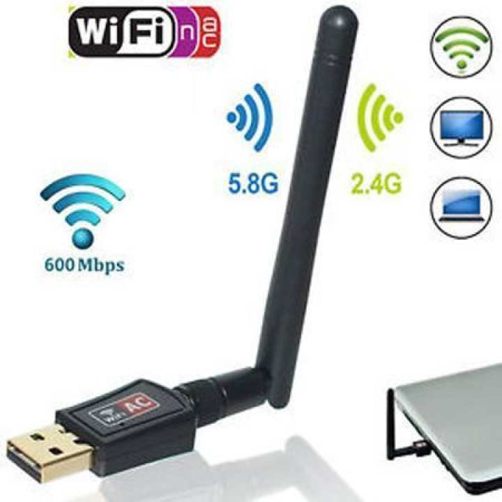 600Mbps Mini USB 2.0 Port Wireless Wifi Adapter 802.IIac With Antenna - Black