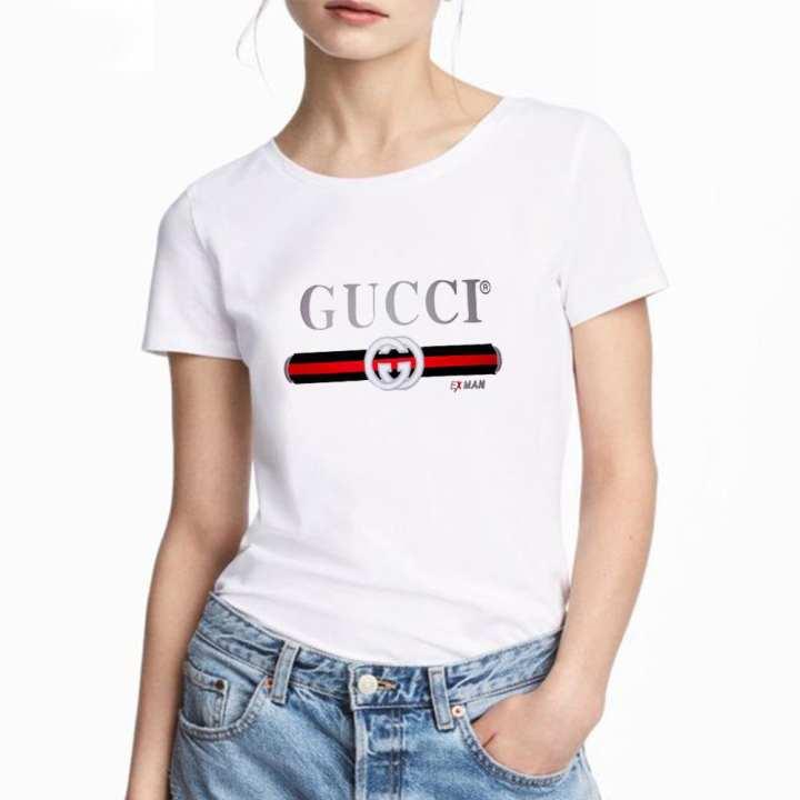 white Cotton Short Sleeve T-shirt for Women